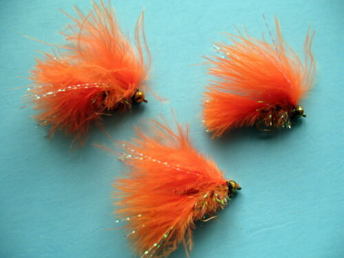 3 X GOLD HEAD ORANGE FRITZ CATS WHISKER  SIZE 10 SHORT SHANK LURES MLGH61