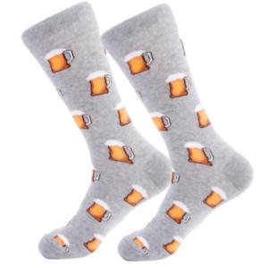 Mens-Funny-Cool-Bright-Socks-Schooner-of-Beer-Happy-Funky-Crew-Socks