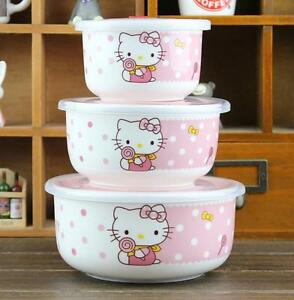 Cute-3-PCS-For-Hello-Kitty-Ceramic-Food-Rice-Bowl-Storage-Containers-Set-w-lids