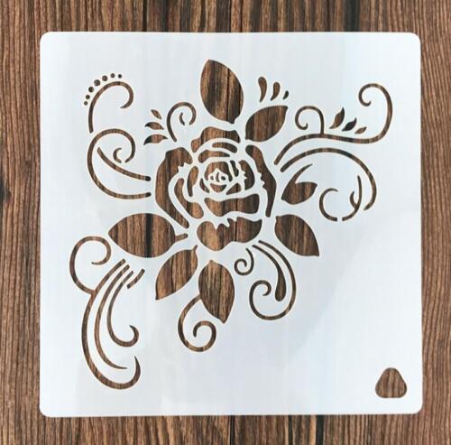 "5.9/""X5.9/"" Blooming rose Stencil Reusable Craft Stencils Template scrapbook draw"
