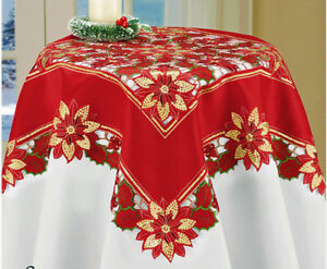 Christmas-Decor-Tablecloth-Red-Poinsettia-Gold-Sequin-Accents-Topper-34-034-SQUARE