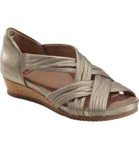 EARTH-WOMEN-039-S-FICUS-GEMINI-WEDGE-LEATHER-SANDAL-WASHED-GOLD