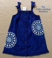 Gymboree Greek Isle Style Blue Embroidered Mosaic Dress Girls Size 4t 5t