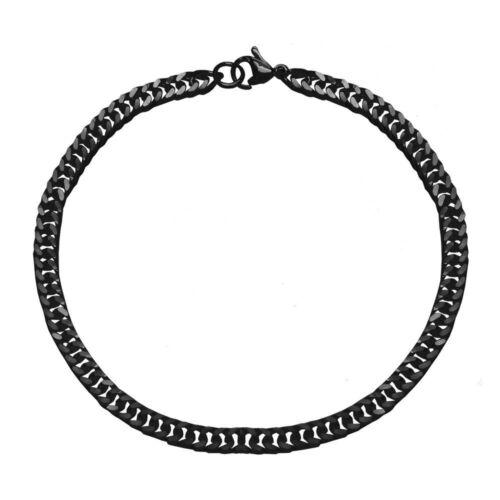 Edelstahl Armband Herren 22cm Schwarz Panzerkette Flach Figaro Damen Königskette