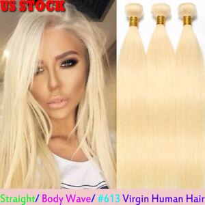 9A-613-Bleach-Blonde-1-3-Bundles-100-Virgin-Human-Hair-Extensions-Weft-100g-RW