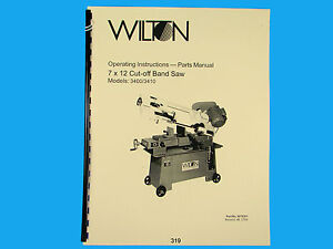 4126AC Belt Grinder Op Instruct /&Parts Manual *314 Wilton Model 4103 4106
