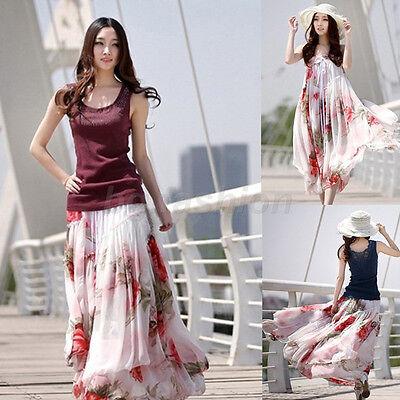Women Floral Chiffon Big Hem Summer Elegant Boho Dress Maxi Long Skirt BeachWear