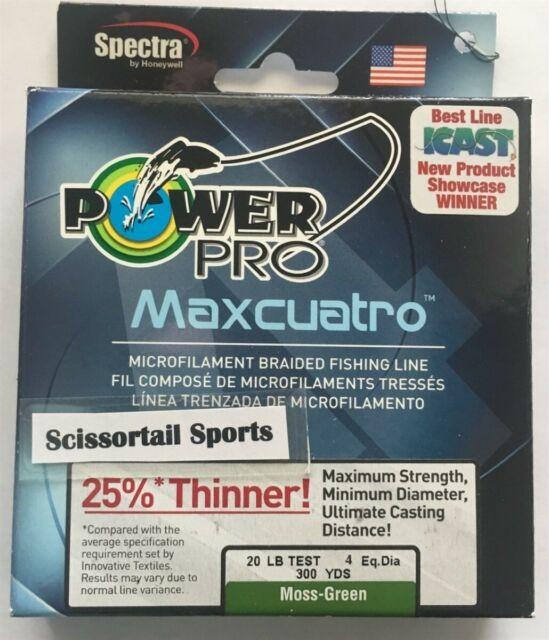 Power Pro Maxcuatro Microfilament Braided Line 150 300 1500 yd Moss HiVis Yellow