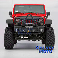 07-17 Jeep JK Wrangler Stinger Front Bumper+OE Fog Light Hole+Winch Plate+D-ring
