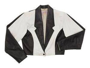 Vintage-Leather-Jacket-M-Medium-Womens-Black-amp-White-Cropped-Motorcycle-Jacket