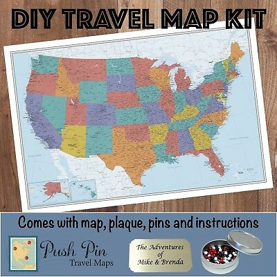 DIY Stormy Dreams World Push Pin Travel Map Kit