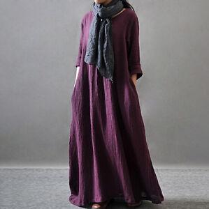 Women-Retro-Long-Dress-Loose-Vintage-Maxi-Plus-Cotton-Linen-V-Neck-A-Line-Hot