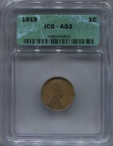 Details about 1919 ICG AG 3 WHEAT PENNY