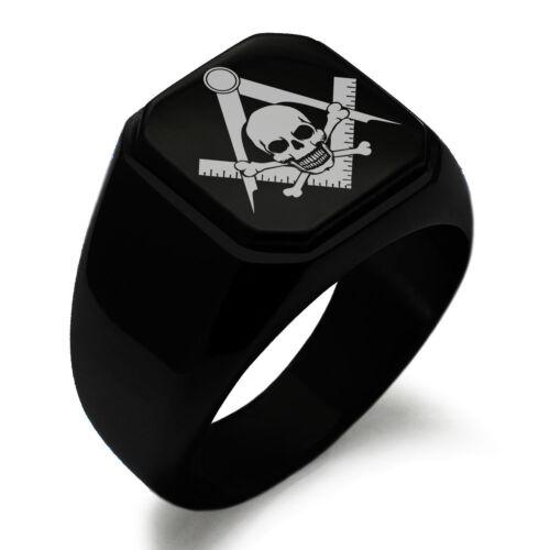 Stainless Steel Masonic Skull Square Mens Square Biker Style Signet Ring