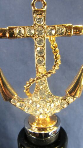 Anchor Gold toned  Metal  Jeweled Wine Bottle Stopper Bar Accessory