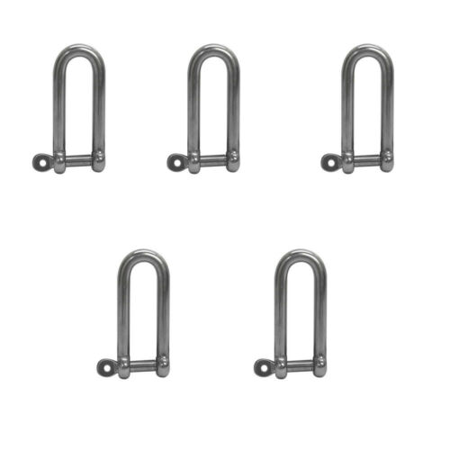 5Pc 1//4/'/' Stainless Steel Captive Pin Long D Shackle Threaded Boat Marine 750Lbs