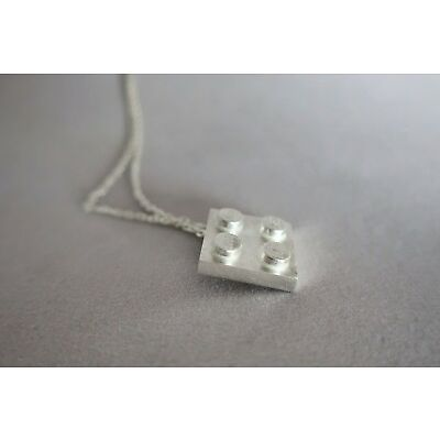 Sterling silver lego inspired block necklace charm - Lego inspired pendant