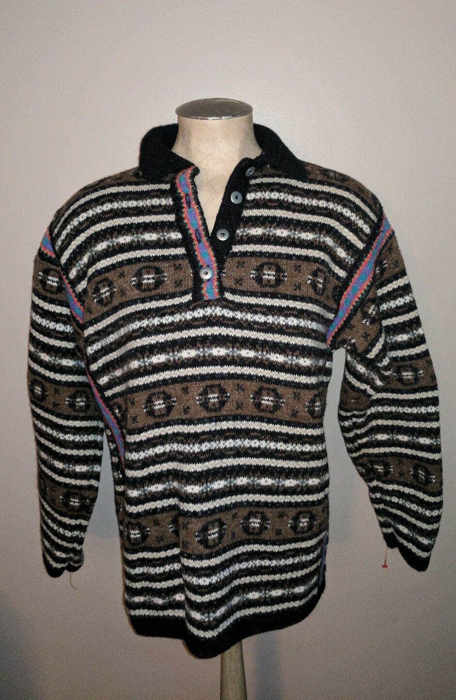 VINTAGE KITTY HAWK WOOL SOUTHWESTERN PULL OVER SWEATER WESTERN LADIES L SKI