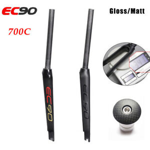 EC90-Carbon-Fiber-Road-Bike-1-1-8-034-700C-Wheel-Fork-Fixed-Gear-Bicycle-Front-Fork