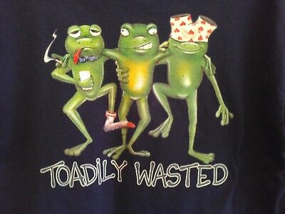 L navy blue USED T Shirt FUNNY! TOADily WASTED belize RESORT drink BAR party