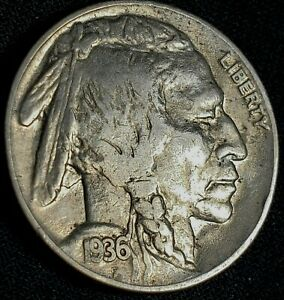 1936-P-BUFFALO-NICKEL-Indian-Head-US-5-Cent-COIN