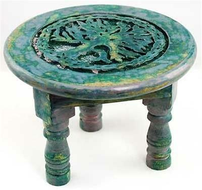 "6"" Wooden Round Tree of Life Altar Table!  pagan wicca witch"