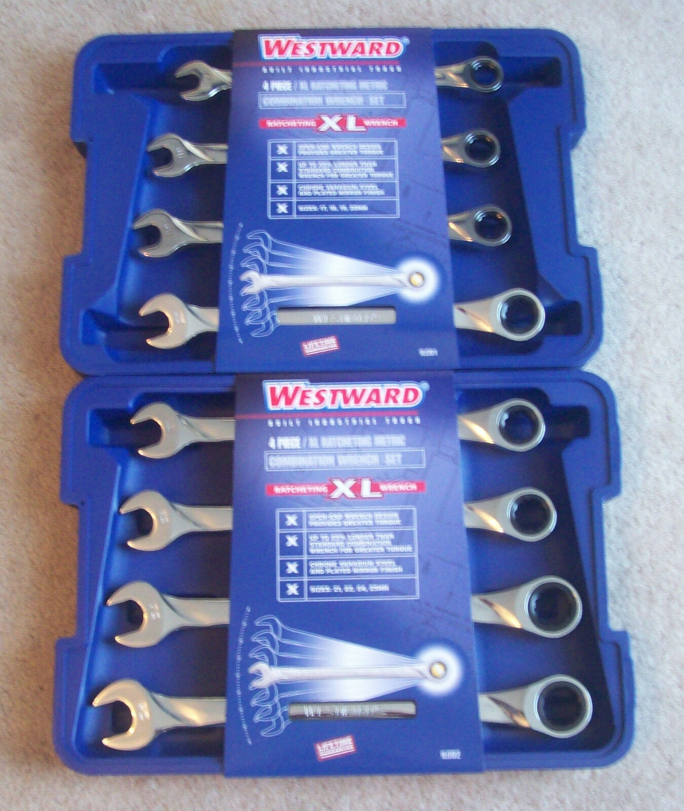 8pc WESTWARD XL JUMBO GEAR RATCHETING WRENCH SET 1LCD1 & 1LCD2 METRIC RATCHET
