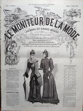 LE MONITEUR DE LA MODE 1891 N 42 TOILETTES DE PROMENADE. DESSIN DE H. JANET