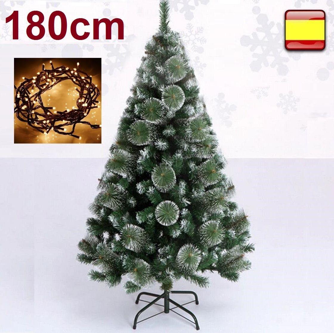 Arbol de navidad 1,80 m 180 cm Pino verde nieve + luz...