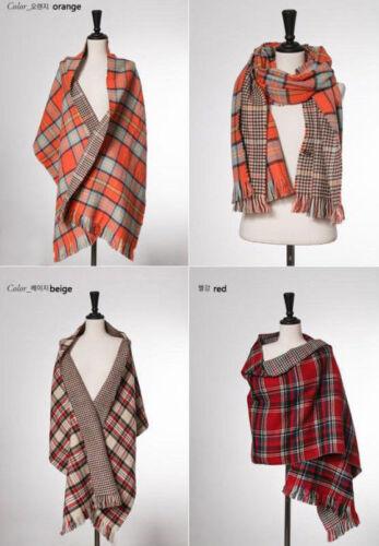 UK Women Winter Blanket Oversize Tartan Scarf Reversible Wrap Check Double side