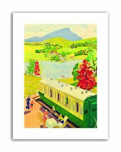 COACHES-CAMPING-ENGLAND-SCOTLAND-SUMMER-HOLIDAY-Poster-Painting-Canvas-art