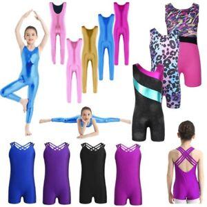 UK-Kids-Girls-Gymnastics-Unitard-Ballet-Dance-Leotards-Jumpsuits-Shiny-Dancewear