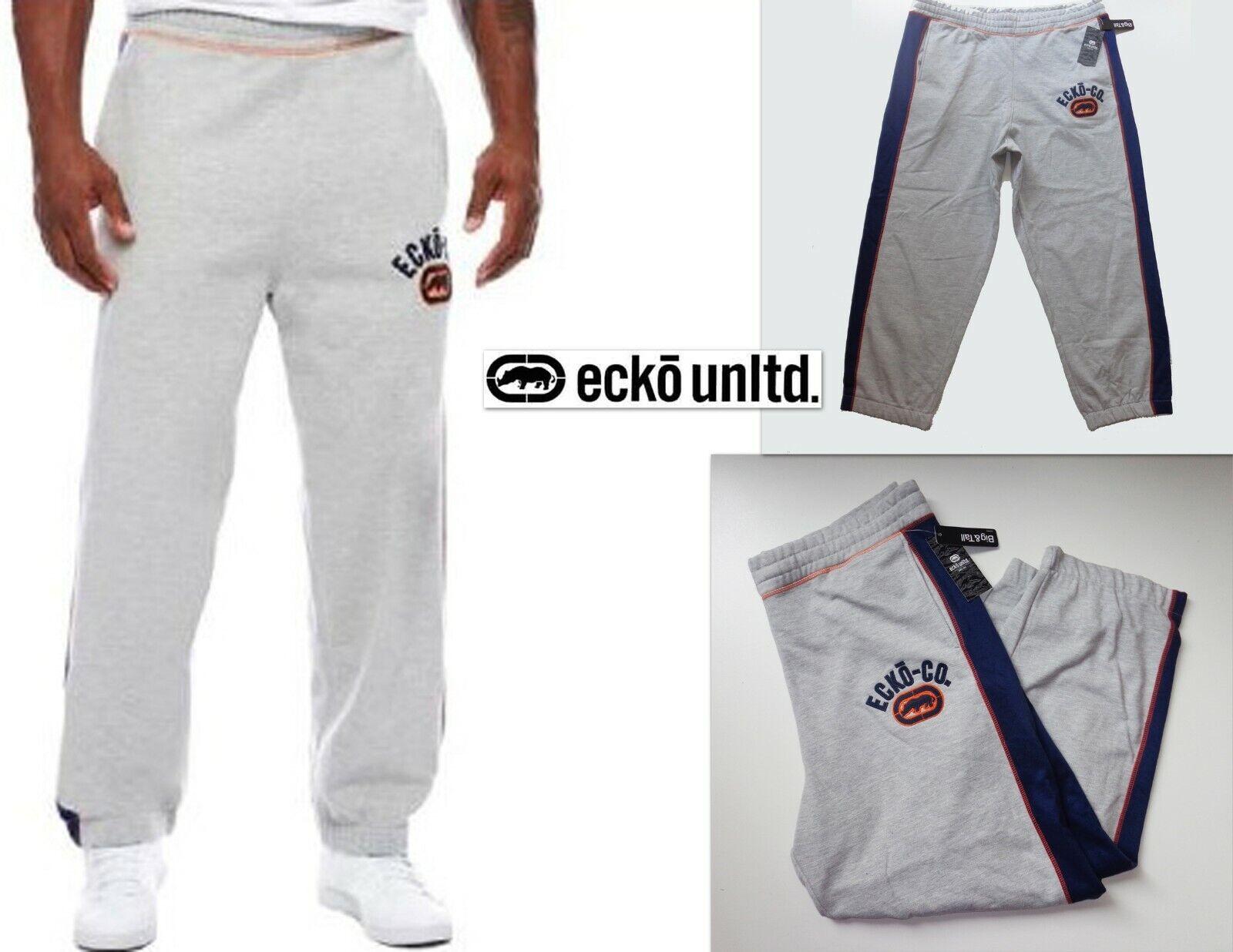 NWT ECKO UNLTD 3X Big&Tall Gray Navy Blue Logo Sweat Pants Great Sweatpants New