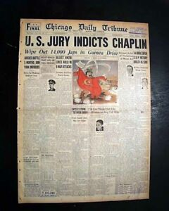 CHARLIE-CHAPLIN-Mann-Act-Joan-Barry-INDICTMENT-World-War-II-1944-WWII-Newspaper