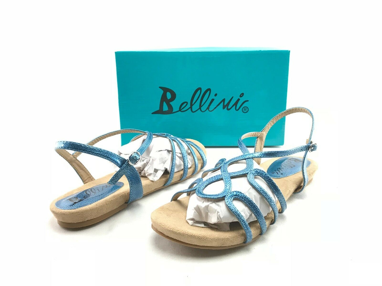 NEW Bellini US Nadine Women's Blue Strappy Fashion Casual Sandals US Bellini 8.5 Shoes B212 144074