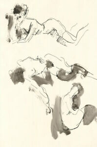 Peter Collins ARCA - Three c.1970s Pen and Ink Drawings, Resting Poses II