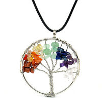 1x Crystal Quartz Gemstone Wraped Tree of Life Pendant Chain Necklace Gift
