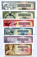 YUGOSLAVIA SET 6 UNC 10 20 50 100 500 1000 DINARA 1965-1978 WITH STAMP LJUBLJANA