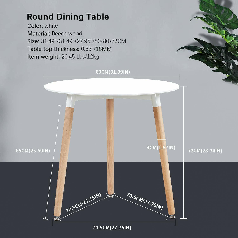 EGGREE 80cm mesa redonda de comedor blanca de y 4 sillas