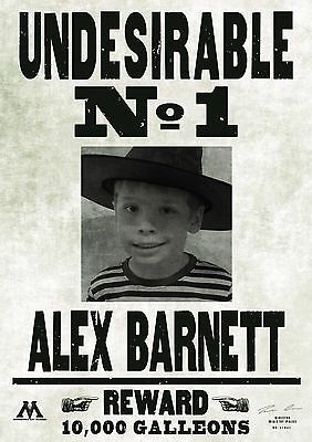 Unique personalised Harry Potter /'Wanted/' poster gift party birthday Xmas A4
