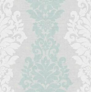Capable Papier Peint, Design Papier Peint, D'ornement, Cendres, Gris Clair, Turquoise, Effet-afficher Le Titre D'origine