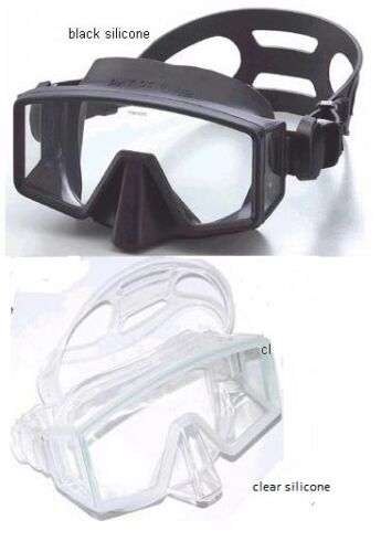Red Hat Diving , Single lens BLACK silicone frameless mask. Clear also available