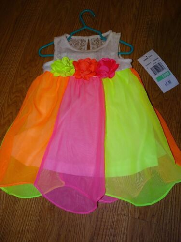 Rare Too Infant Girls NEON SLEEVELESS CHIFFON DRESS 12 MONTHS 18 MONTHS EASTER