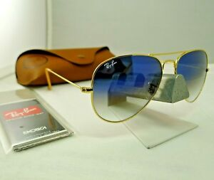3be551c5f4bee RAY-BAN RB3025 001 3F GOLD FRAME LIGHT BLUE GRADIENT AVIATOR ...