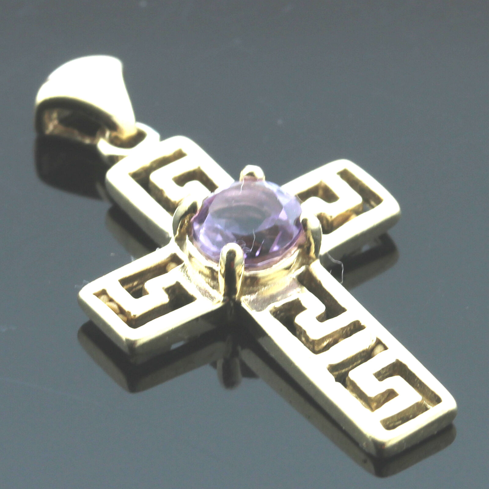 9ct Yellow gold Celtic Style Amethyst Cross Pendant - Boxed
