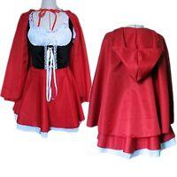 Womens Fairytale Little Red Riding Hood Fancy Dress Cosplay Costume Dress Cloak
