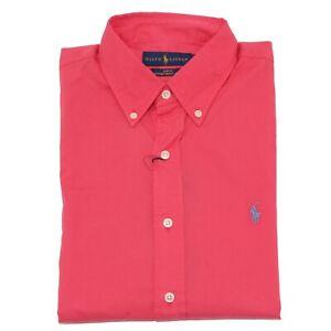 l'atteggiamento migliore a10c3 62992 Dettagli su 2986Z camicia uomo RALPH LAUREN SLIM FIT coral red shirt cotton  man