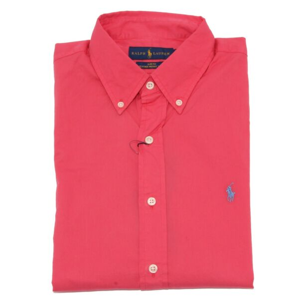 2986z Camicia Uomo Ralph Lauren Slim Fit Coral Red Shirt Cotton Man