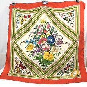 Vintage-V-Accornero-Gucci-Scarf-Floral-Butterfly-Orange-Red-Trim-Silk-Twill