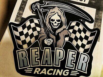 Reaper Racing skull skeleton Sticker metal checkered flag fast cars black grim